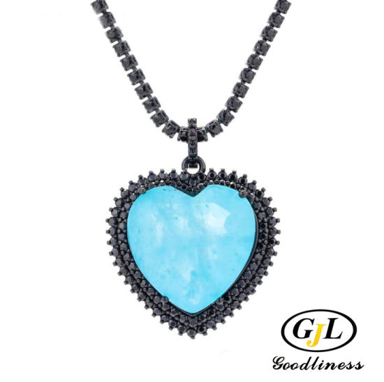 Wedding Jewelry Ocean Blue Crystal Heart Necklace Fashion Jewelry pictures & photos