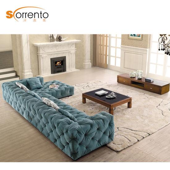 Royal Chesterfield Modern Corner L Shape Furniture Sofa Set Arabic Seating Blue Color For Home