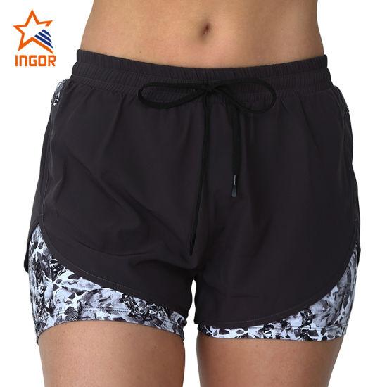 Wholesale 2021 Fitness Sportswear Mesh Insert Yoga Pants Black Gym Shorts Women