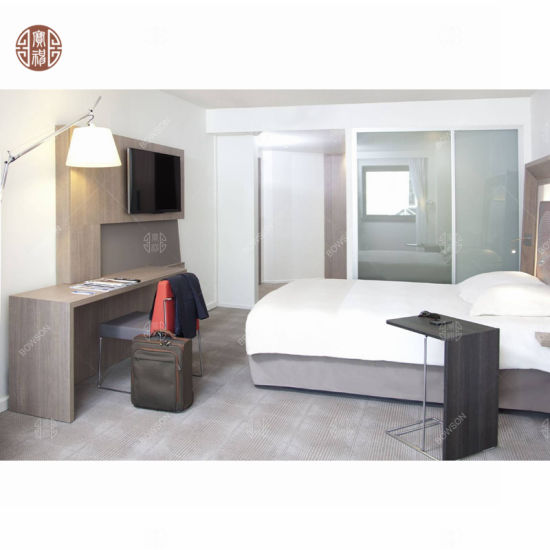 China Deluxe Hotel Concise Furniture Teak Wood Hotel Bedroom Set
