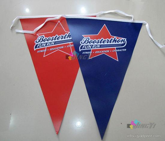 Custom Full Color Printed Vivd logo Graphic string flag Advertising Decorative PVC vinyl Flex Bunting Flag banner Tarpaulin