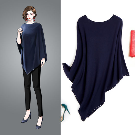 MID-Long Shawl Cape Irregular Knitted Blouse in Autumn 2019