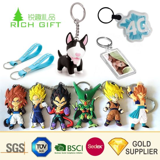 China Promotion Custom Make Your Own 3D Logo Plastic Silicone Loop Keyring Promotional Souvenir Customized Reflective Cartoon Anime LED Rubber Soft PVC Keychain