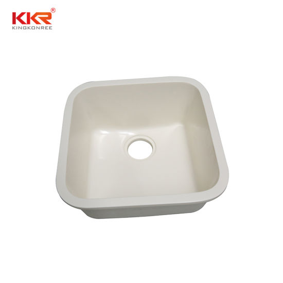 China Kkr Cream Sink Integrated Molded White Resin Undermount Stone Kitchen Sinks China Kitchen Sink Stone Kitchen Sink