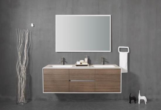 Wholesale High Quality Bathroom Furniture (Fdm Unpaint Solid Plywood Bathroom Cabinet, Solid Surface Basin)