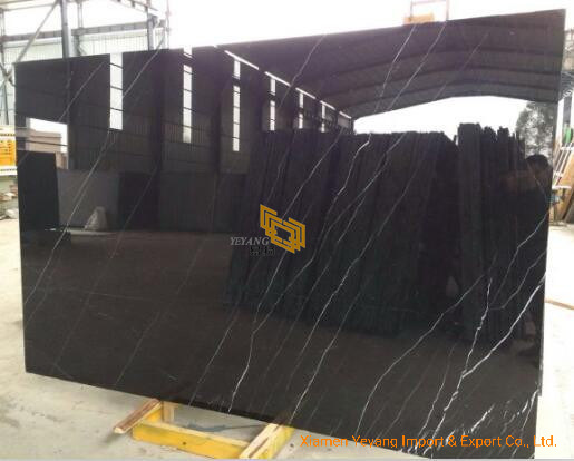 Polished Nero Marquina Black Marble Stone Tile for Wall/Flooring