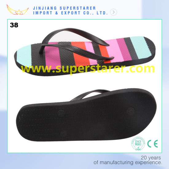 57b8fbaaf801 China Cheap PE Flip Flops with Rainbow Color Heat Transfer Printing ...