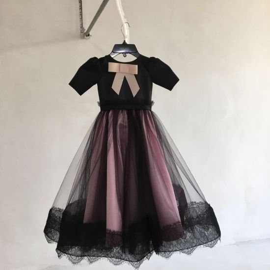 Black Pink Lace Girl Kids Wedding Dress Prom Gown Qh5590