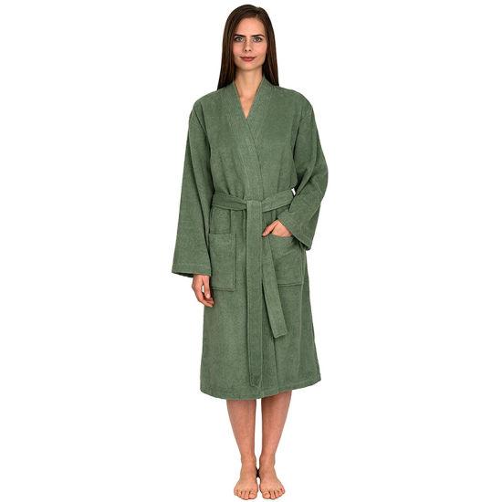 Women Daily Cotton Homewear Terry Cloth Kimono Bathrobe