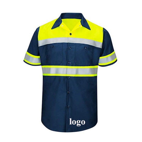 Custom Safety Reflective Tape Construction Formal Mens Button Down Short Sleeve Polo Shirts pictures & photos
