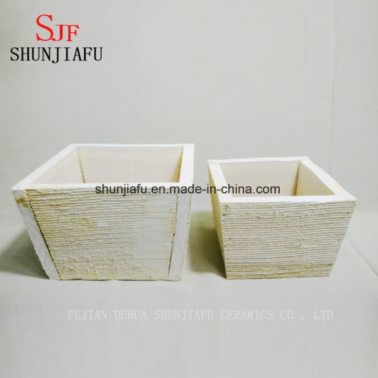 Small Square Wooden Flower Pot Planters pictures & photos