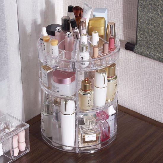 Clear Large Capacity Acrylic Makeup Organizer - 360° Rotating /Revolving Adjustable Cosmetic Storage
