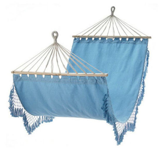 The Original Breathable Easy Collapsible Macrame Hammock with Wooden Sticks