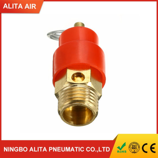 1//4BSP Thread Safety Pressure Relief Valve Red for Air Compressor