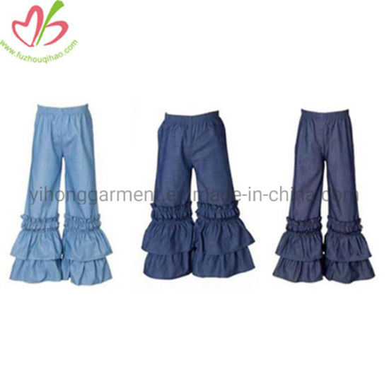 United States Different Blue Girl Denim Jean Ruffles Leggings