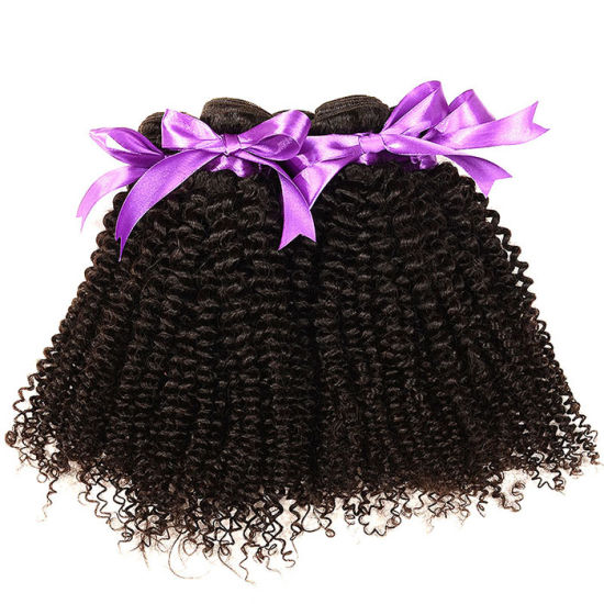 Brazilian Kinky Curly Remy Hair Weave 4PCS/Lot Afro Kinky Curly Remy Hair Weave Natural Black Human Hair Weave Slove Hair Wavy pictures & photos