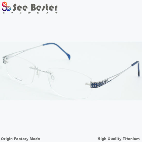 2b0832039e 100% Titanium High Quality Rimless Optical Frame with Double Color   Diamond  Optical Glasses Frames Latest Eyeglasses Frame