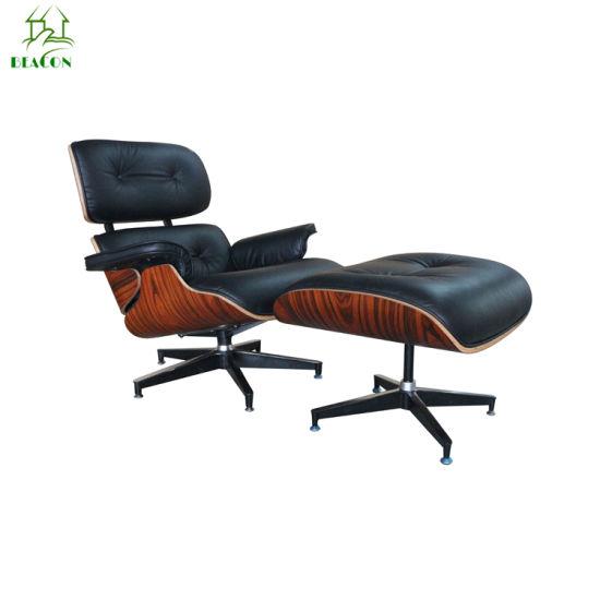 Modern Designer Living Room Furniture Rose Wood Lounge Chair with Otoman