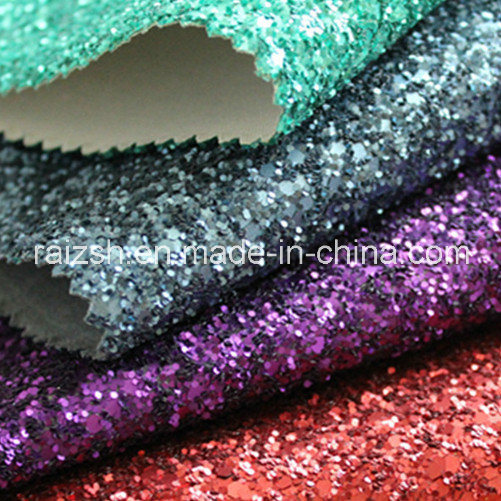 Matt Grit Glitter PU Leather Synthetic Leather Glitter Fabric pictures & photos