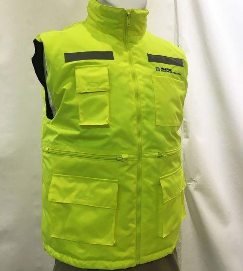 Hv-W01 Winter Padded Lining High Visibility Reflective Safety Vest Bodywarmer Workwear