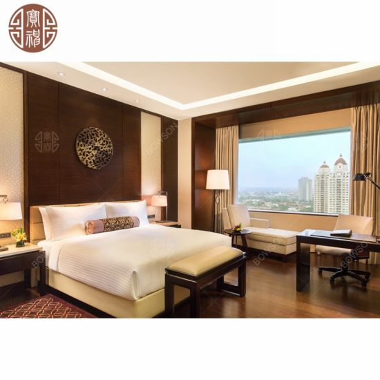 5 Star Hilton Design Style Hotel Bedroom Furniture Wooden Veneer with Painting Surface