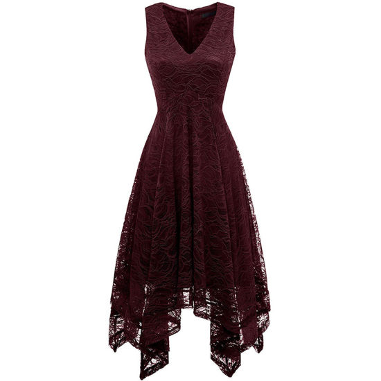 Women Fashion Elegant V-Neck Sleeveless Asymmetric Handkerchief Hem Floral Lace Cocktail Dress