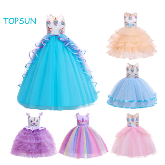 Fashion Baby Children Unicorn Costume Dress Product Kids Pageant Flower Princess Party Dresses Baby Clothes