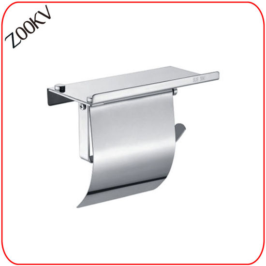 304 Stainless Steel Wall Mounted Washroom Restroom Bath Toilet Bathroom Kitchen Paper Towel Box with Rack Cover Shelf Dispenser Two Tissue Roll Holder
