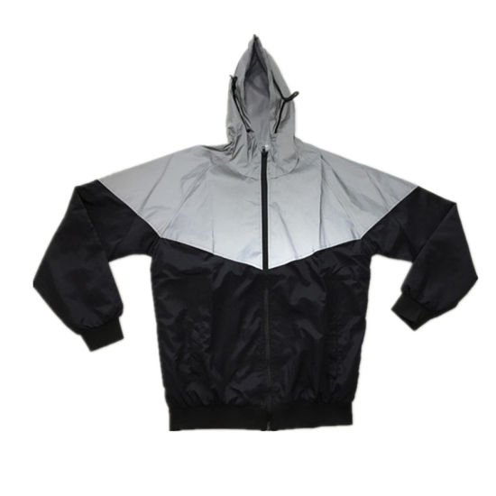 Hi Vis Hot Sale Fashionable Contrast Silver Reflective Jacket with Windproof