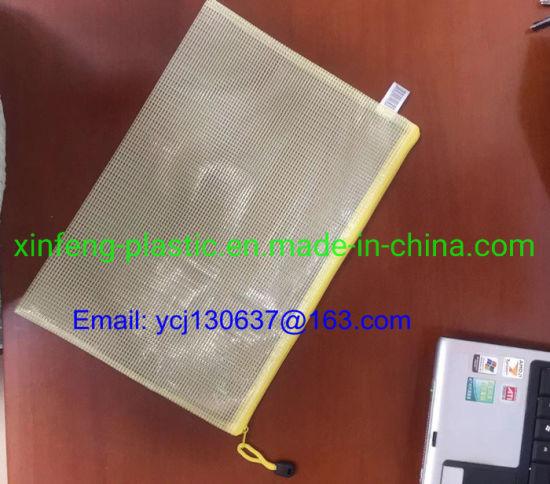 PVC Mesh Zipper Bag Waterproof File Folder Storage Bag Office Supply Bag