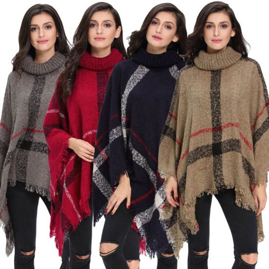 Knitted Poncho Cape Coat Stripe Tassel Turtleneck Warm Shawl Pullover Cloak Sweater