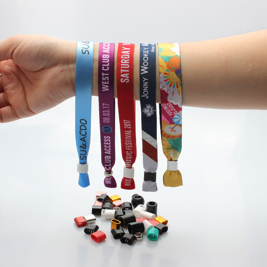 Factory Wholesale Promotional Gift Ribbon/Silicone/Elastic Wrist Band Woven Fabric Festival Wristband Event
