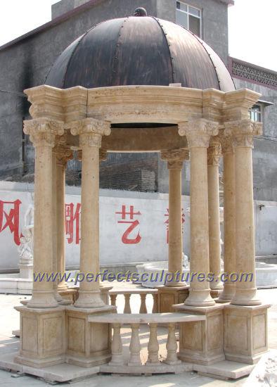 Antique Stone Marble Garden Gazebo for Outdoor Garden Decoration (GR047)