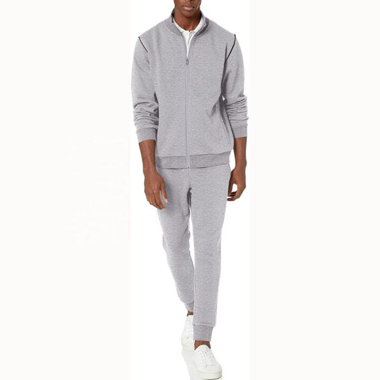 Custom Logo Knitted Jackets and Jogger Pant Set Fashion Tracksuit for Men