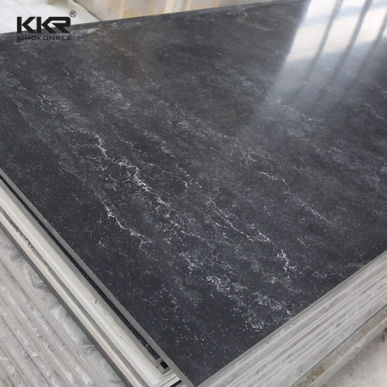 China Solid Surface Black Marble Pattern Corian Solid Surface Wall Panels China Artificial Stone Solid Surface