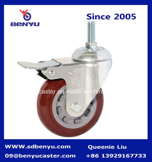 Screw Caster Purplish Red PU Wheel with Total Brake
