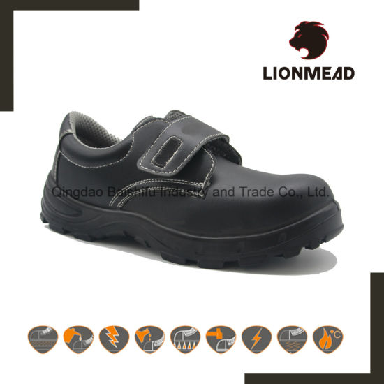 PU Sole Steel Toe Genuine Leather Waterproof Industrial Safety Shoes Men