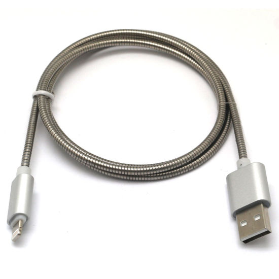 High Speed 2A Steel Spring Micro/8pin USB Data Cable pictures & photos