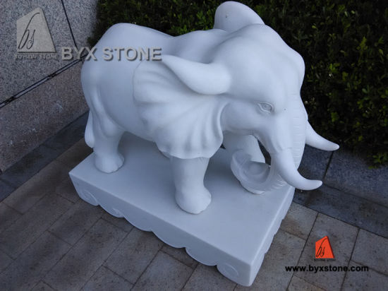 White Marble Stone Little Elephant Sculptures For Garden Decoration
