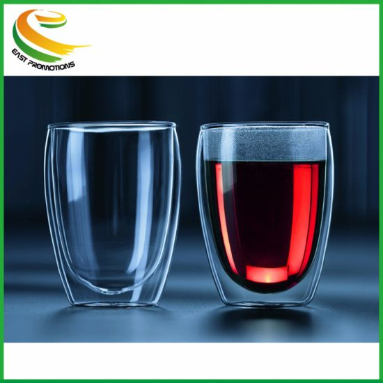 Double Wall Egg Shape Glass Coffee Cup High Temperature Resistant Cups Glassware Drinkware pictures & photos