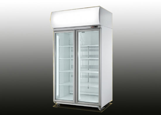 China 1150l Double Glass Door Upright Beverage Commercial Fridge