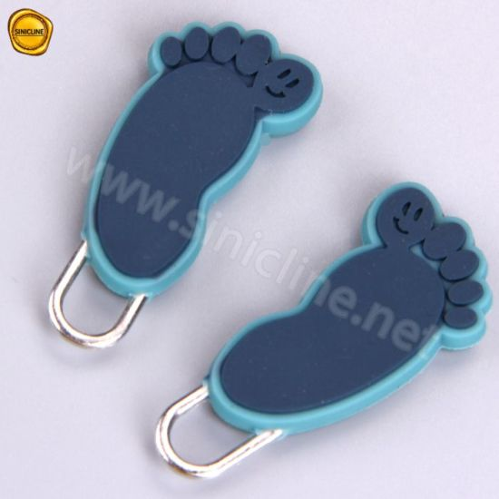 Custom Silicone Garment Handbag Zipper Pullers Soft PVC Zipper Puller