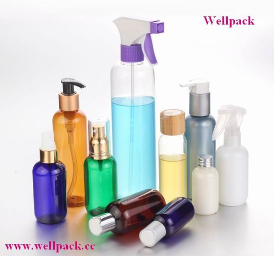 250ml Plastic Pet Bottle with Sprayer Pump Cosmetic Packaging pictures & photos