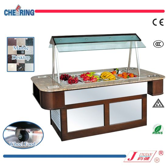 Cheering Marble Island Type Salad Bar Buffet Counter For Hotel Equipment