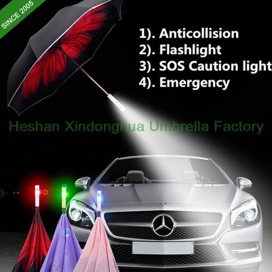 1e02e18ea813 New Items Innovative SOS Reverse Inverted Umbrella with LED Handle and  Reflective Stripes (IU-0023SOS)