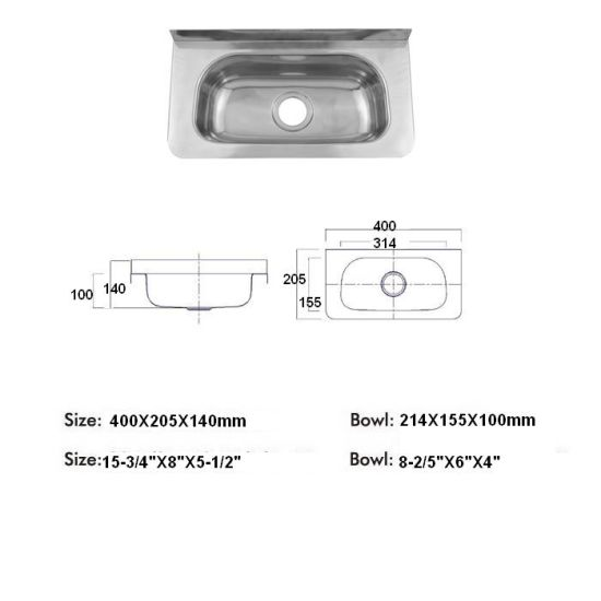 Hand Washing Sink Wash Basin, Stainless Steel Utility Sink, Wall Mounted  Laundry Sink Tub  (AUS400)