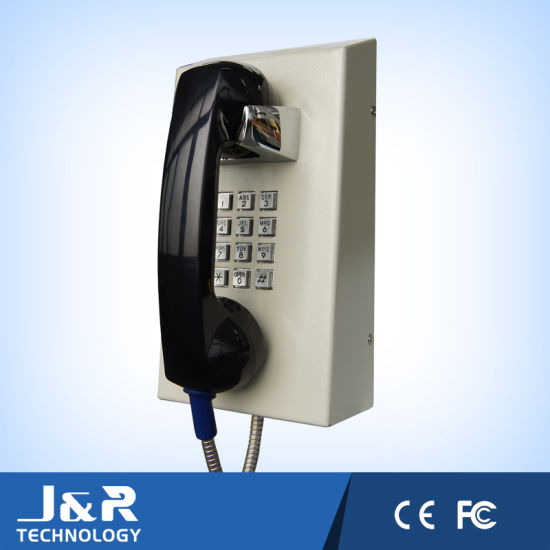 Robust Steel Wall Phone with Dial Pad and Armored Cord