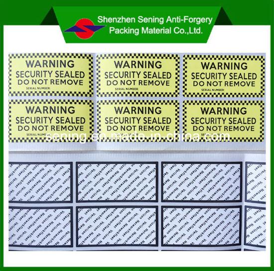 Destructible Anti-Counterfeit Adhesive Warning Sticker