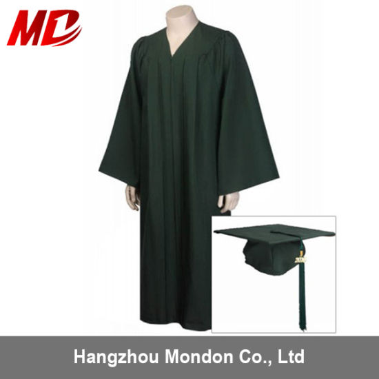 China Adult Dark Green Graduation Cap Gown Tassel For High School
