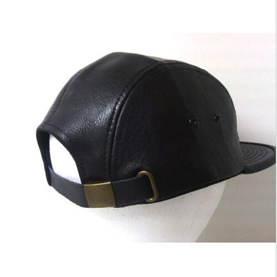 2016 Men′s Faux Leather 5 Panel Strapback Camp Hat Cap